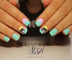 Ombre tropical nails by StellaSam from Nail Art Gallery Acrylic Nail Designs, Nail Art Designs, Acrylic Nails, Cute Nails, Pretty Nails, Gorgeous Nails, Tropical Nail Art, Beach Nails, Nail Decorations