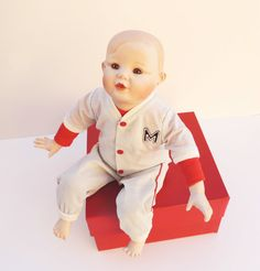 "Porcelain Baby Doll ""Michael""  by Yolanda Bello. He is the cutest little slugger A ""Picture Perfect Baby"" in his baseball uniform.  https://www.etsy.com/listing/120294949/porcelain-baby-doll-by-yolanda-bello"