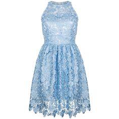 Ukulele - Poppy Dress ($210) ❤ liked on Polyvore featuring dresses, poppy dress, zip dress, blue zipper dress, lacy dress and zipper dress