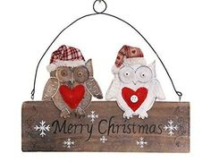 Cute Wooden Owl 'Merry Christmas' Hanging Sign. #Doesnotapply