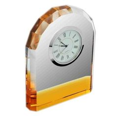 Yellow Stripped Crystal Clock - corporate gifts