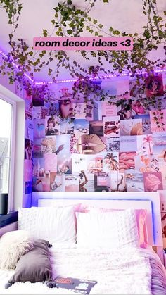 Indie Room Decor, Cute Bedroom Decor, Room Design Bedroom, Aesthetic Room Decor, Room Ideas Bedroom, Bedroom Inspo, Neon Room Decor, Cheap Room Decor, Bedroom Picture Walls