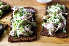 spring tofu salad toasts