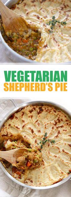 The Best Vegetarian Shepherd's Pie Best Vegan Recipes, Vegetarian Recipes Easy, Veggie Recipes, Vegetarian Pie, Healthy Recipes, Veggie Meals, Vegetarian Dinners, Vegetarian Options, Vegetable Pie