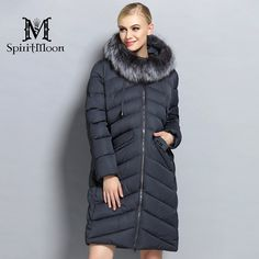 34344f2127147 SpiritMoon 2017 Hooded Long Coat Women Clothes Winter Down Jacket  Thickening Down Parka With Silver Fox Collar Plus Size