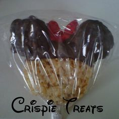 Minnie Mouse Rice Krispie treats with Chocolate Ears - Favor - 1 Piece with Tag. $3.25, via Etsy.
