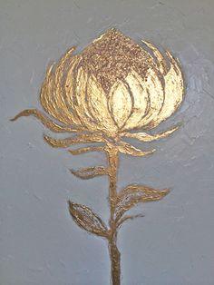 Golden Blossom by ZsaZsa Bellagio (contemporary), American, oil and gold leafing on board (artpassionzsazsabellagio.blogpsot.com)