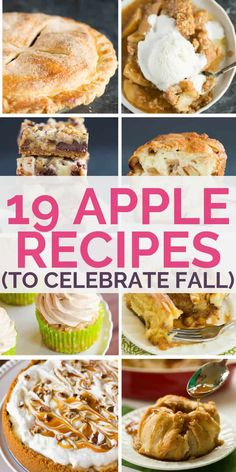 19 of the Best Apple Recipes to Celebrate Fall Something for everyone! From pies, cakes, bars, and pastries to crips and cupcakes, you're sure to find a recipe you can't wait to tackle with fall's apple bounty. Best Apple Recipes, Apple Crisp Recipes, Fruit Recipes, Fall Recipes, Dessert Recipes, Pear Recipes, Drink Recipes, Chicken Recipes, Apple Slab Pie