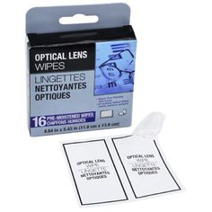 Keep your view crystal clear with all-purpose optical wipes for smear-free specs, windows, and other glass surfaces. Each box contains 16 individually packaged wipes. Great for resale, or stash some i
