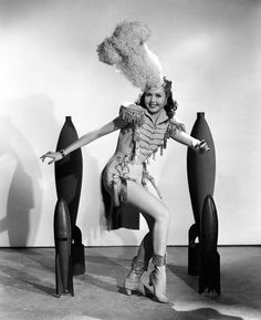 Ann Miller models an Atomic Bomb Blast hat