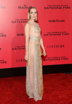 Jena Malone Beaded Dress - Jena Malone showed her more daring side in a beaded Nicholas Oakwell evening dress with see-through panels during the 'Catching Fire' LA premiere.