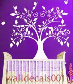 Vinyl Baby Nursery Wall Decal Wall Sticker-The Loving Tree with Birds.