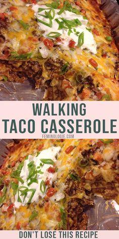 Walking Taco Casserole Recipe, Beef Casserole Recipes, Casserole Dishes, Easy Taco Casserole, Chicken Taco Casserole, Mexican Beef Casserole, Hamburger Recipes, Taco Salad Casserole Recipe, Mexican Meatloaf