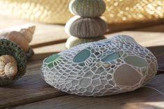 pebbles, beachglass, thread
