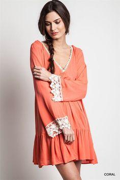 COWGIRL GYPSY Prairie CORAL  Dress CROCHETED Trim Country Western MEDIUM #kori #boho