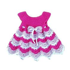 Items similar to Baby girl dress pattern months with a shevron looking skirt newborn girl crochet dress. on Etsy Crochet Dress Girl, Crochet Baby Dress Pattern, Baby Girl Dress Patterns, Black Crochet Dress, Crochet Girls, Crochet Baby Clothes, Crochet For Kids, Baby Patterns, Crochet Dresses