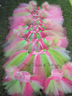 K's custom order pink , light pink and green fairy birthday party favor 8 toddler, 2 infant tutus and 10 princess fairy wands. Order your bundle at TiedTutusAndTHings on Etsy!