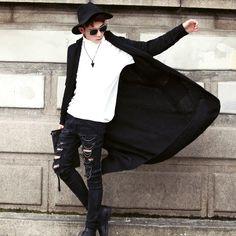 Harajuku tendência traje ultra longo parágrafo personalidade masculina solto com capuz da camisola em Suéteres de Moda e Acessórios para Homens no AliExpress.com | Alibaba Group