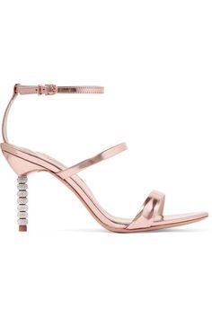 Sophia Webster - Rosalind Crystal-embellished Metallic Leather Sandals - Pink