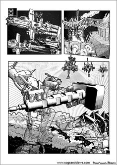 Cs&Cs wordless webcomic page 131. #webcomics #comicbooks #manga #anthro #mech #robot #mecha #transformers #gundam #2000ad #spacecraft #tmnt #rocketraccoon Web Comics, Cogs, Transformers, Manga, Manga Anime, Squad