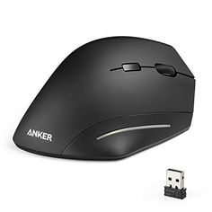 5a9b69c758e Wireless Mouse, Anker Ergonomic USB Wireless Vertical Mouse with 3  Adjustable DPI Levels 800 / 1200 / 1600 and Side Controls, Black