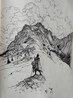 Montagne # croquis You are in the right place about dessin Mountain Sketch, Mountain Drawing, Landscape Sketch, Landscape Drawings, Kunst Inspo, Art Inspo, Art And Illustration, Fantasy Kunst, Fantasy Art
