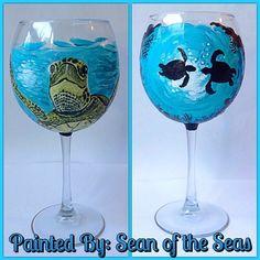 Original handpainted wine glasses! For the  Sea Turtle lovers! Facebook.com/paintedbysos