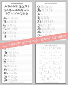 Script Brush Calligraphy Worksheets | DawnNicoleDesigns.com