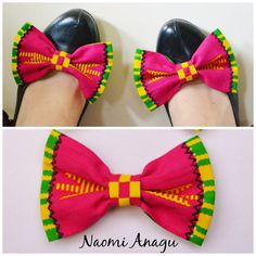 African Wax Tribal Kente Pink Fabric Clip-on Shoe by naomianagu