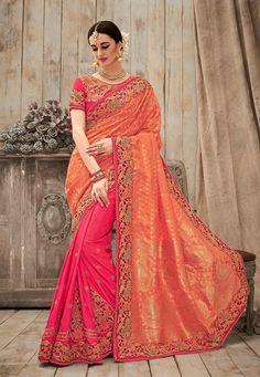 Orange & pink south silk wedding wear saree with blouse