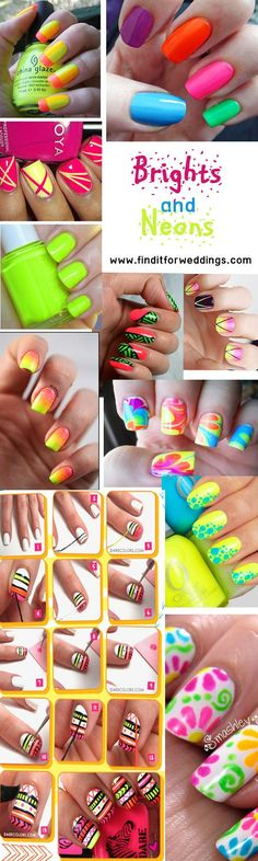 manicure -                                                      Neon #nails nail art design ideas Visit www.finditforwedd... for top tips on how to do a professional manicure at home