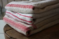 red striped vintage linens , perfect for Christmas!