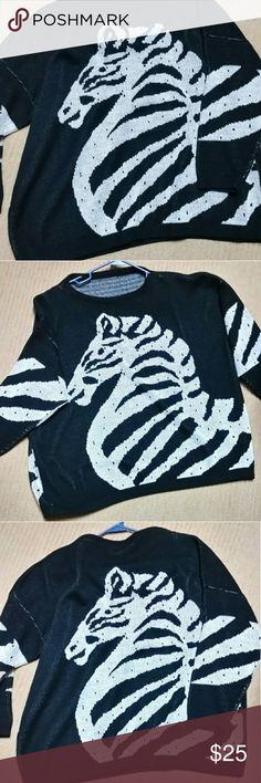 Vintage Zebra sweater Cool vintage zebra sweater.  One of a kind! no label Sweaters