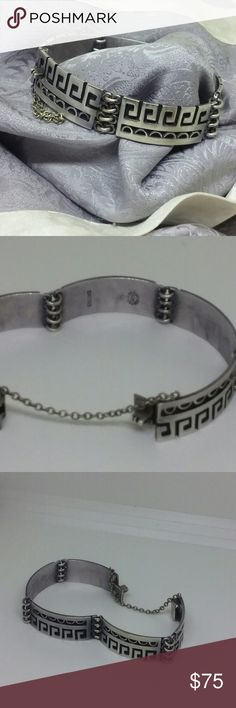 Sterling Silver Taxco GeometricBracelet Sterling silver midcentury modern bracelet marked Taxco Mexico In a intricate geometric pattern. 7 inches with a locking clasp and safety chain Jewelry Bracelets