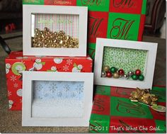 shadow box pictures for Christmas - adapt for any holiday!