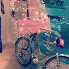 Glitter and Lights Bike....with vintage pink Christmas ornaments....Free People #glitterinjuicycouture #givemewhatiwant