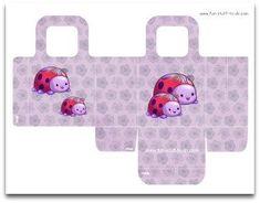 favor bag, gift bag, goodie bag, party bag, purple bag, floral party bag, birthday party decoration, ladybug, flower