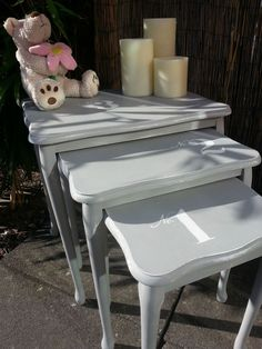 Shabby Chic French Country Style Nest of Tables End Side Lamp Occasional Tables. Painted with Annie Sloan chalk paint with a freehand painted design to each table. Another stunning Bespoke set from Chic Boutique Furniture in Leicester. Available for sale on eBay.