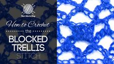 How to Crochet the Fan Trellis Stitch (Left Handed). For written instructions and photos please visit: . This video crochet tutorial will help you learn how to crochet the fan trellis stitch. This stitch creates a interesting fan pattern with a Crotchet Stitches, Crochet Stitches Patterns, Crochet Chart, Lace Patterns, Knitting Stitches, Stitch Patterns, Knitting Patterns, Knit Crochet, Free Crochet