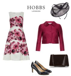 Hobbs 2016/2017 autumn winter Mother of the Bride wedding outfit  crushed berry red and ivory rose print flared skirt and cropped jacket