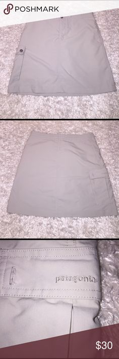 """Patagonia Khaki Skirt Size 4, excellent condition! Length: 17"""". Has shorts underneath! Feel free to ask any questions! Patagonia Skirts"""