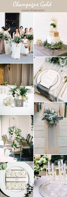 Elegant modern champagne gold organic wedding inspiration