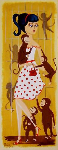 El Gato Gomez Painting Mid Century Modern Retro Monkey Pin Up Girl 1950s Kistchy | eBay