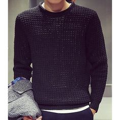 Fashion Round Neck Solid Color Gingham Design Slimming Long Sleeve Polyester Sweater For Men