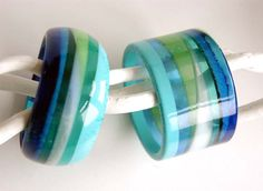 Set of two bulky resin bangles stripes in blue and green by EdnaMo
