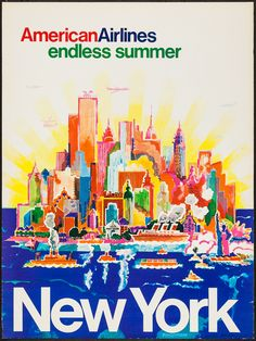 American Airlines: New York Endless Summer Travel Poster, 1970s; Design by  Harry Bertschmann