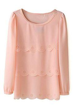 ROMWE Tailored Embellishemt Sheer Pink Blouse