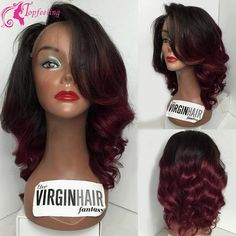 147.00$  Watch now - http://ali821.worldwells.pw/go.php?t=32564709311 - Virgin Short Lace Front Wig Two Tone #1b/Red Ombre Full Lace Bob Wig Burgundy Glueless Wavy With Bangs&Perruque For Black Women