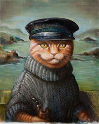 Whimsical portraits of fine creatures by Jayne Siroshton Fancy Cats, Cute Cats, Gato Animal, Gatos Cats, Cat Drawing, Cat Art, Pet Portraits, Kitsch, Folk Art