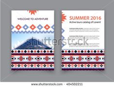Discover Mountain Tours Catalog. Active tours catalog. - mountaineering cover. Brochure with ethnic pattern and mesh design. - stock vector - buy this stock vector on Shutterstock & find other images.